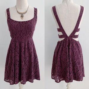 Free People Burgundy Lace Open Back Dress